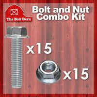 (15) M10-1.25x25 Class 10.9 Jis Hex Flange Bolts & (15) M10-1.25 Flange Nuts