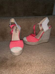 cf2307ace42 Lucky Brand Size 6 Espadrille Sandals Wedge Platforms Reandra Coral ...