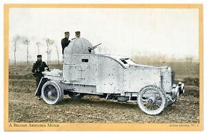 Antique-WW1-military-postcard-A-Belgian-Armoured-Motor-Active-Service-No-2