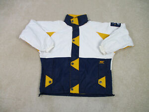 Vintage-Helly-Hansen-Jacke-Erwachsene-Medium-weiss-blau-Full-Zip-Outdoor-Mantel-Herren
