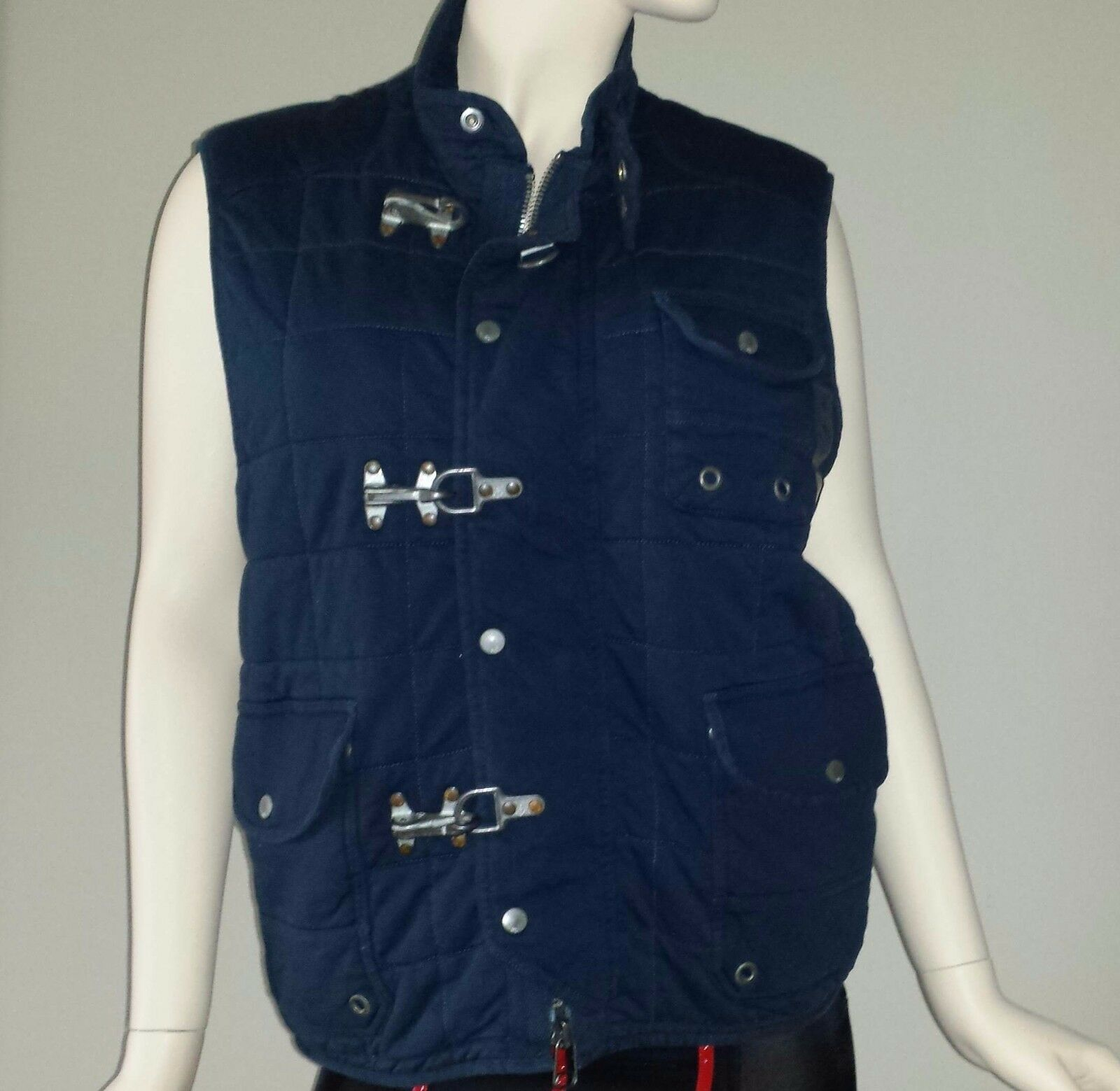 Polo Ralph Lauren Women's Quilted Cotton Navy bluee Aviator Vest