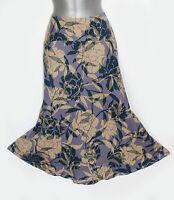 Monsoon Purple Cream Navy Linen Floral Print Casual Formal Midi Skirt Uk 12