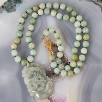 Hand-knotted Carved Jade Dragon Pendant Necklace With Gold Filled Clasp 16