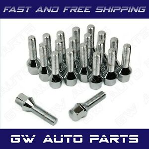 10 PCs BMW Chrome M12x1.5 Lug Bolts 50mm Shank Conical Seat Wheel Lug Bolts