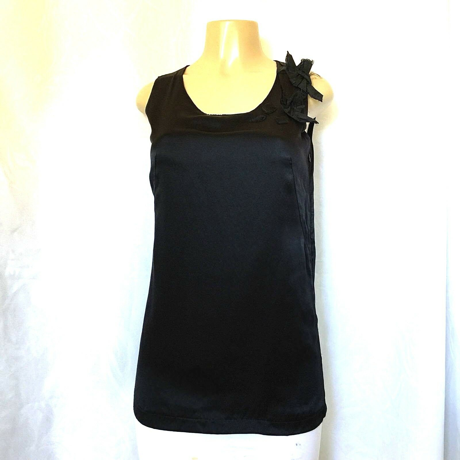 C'N'C Costume National Top Blouse Sleeveless schwarz Silk Floral 24 38 2 XS