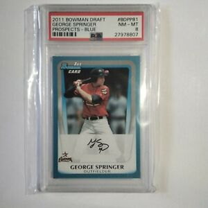 "GEORGE SPRINGER ""RC"" 2011 Bowman Draft Prospects-Blue #BDPP81 -SP479/499 -PSA 8"