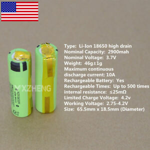 Panasonic-NCR18650PF-10A-High-Drain-Li-ion-2900mAh-Battery-pack18650-Tabs