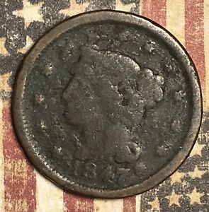 1847 Braided Hair Large Cent Collector Coin for your Collection or Set.