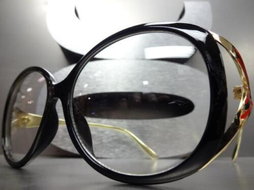 Oversized Vintage Designer Retro Style Clear Lens EYE GLASSES Black /& Gold Frame