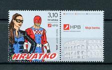 Croatia 2016 MNH Hrvatko HPB Banks 1v Set + Label Banking Superheroes Stamps