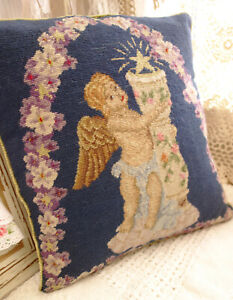 12-034-Beautiful-Floral-Decorated-Arch-Cute-Cherub-Needlepoint-Pillow-Cushion-Cover