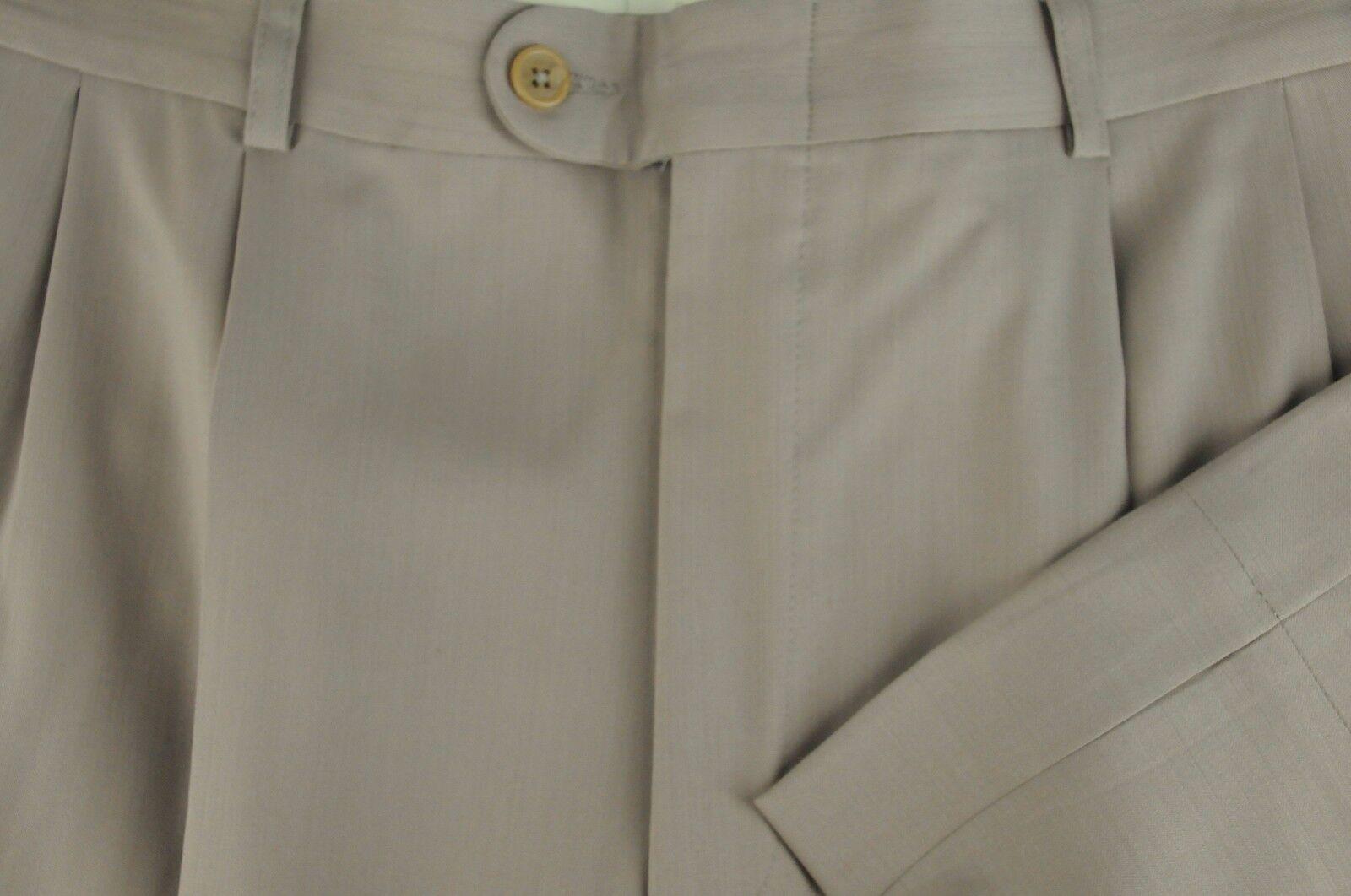 Lord R Colton Men's Beige Luxury All Season Wool Pleated Dress Pants 34 x 32