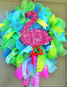 Handmade-Pink-Flamingo-Deco-Mesh-Wreath-Tiki-Bar-Pool-Spring-Summer-Door-Decor