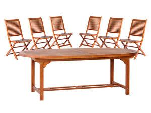 Set Tavolo Ovale Tondo 180 Allungabile 260 Legno 6 Sedie Giardino Piscina Ebay