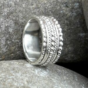 Solid-925-Sterling-Silver-Meditation-Ring-Statement-Ring-Spinner-Ring-Size-sr401