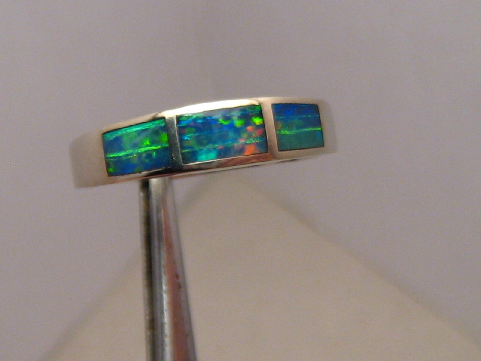 Brilliant  Australian Opal Inlay Ring 10k White gold Size  -- 7 1 4
