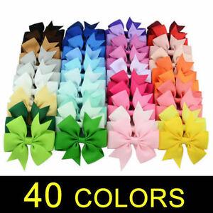 40X-Handmade-Bow-Hair-Clip-Alligator-Clips-Girls-Ribbon-Kids-Sides-Accessories-1