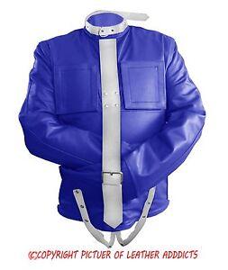 Mens Blue & White Real Leather Bondage Strait Jacket Gay Fetish ...