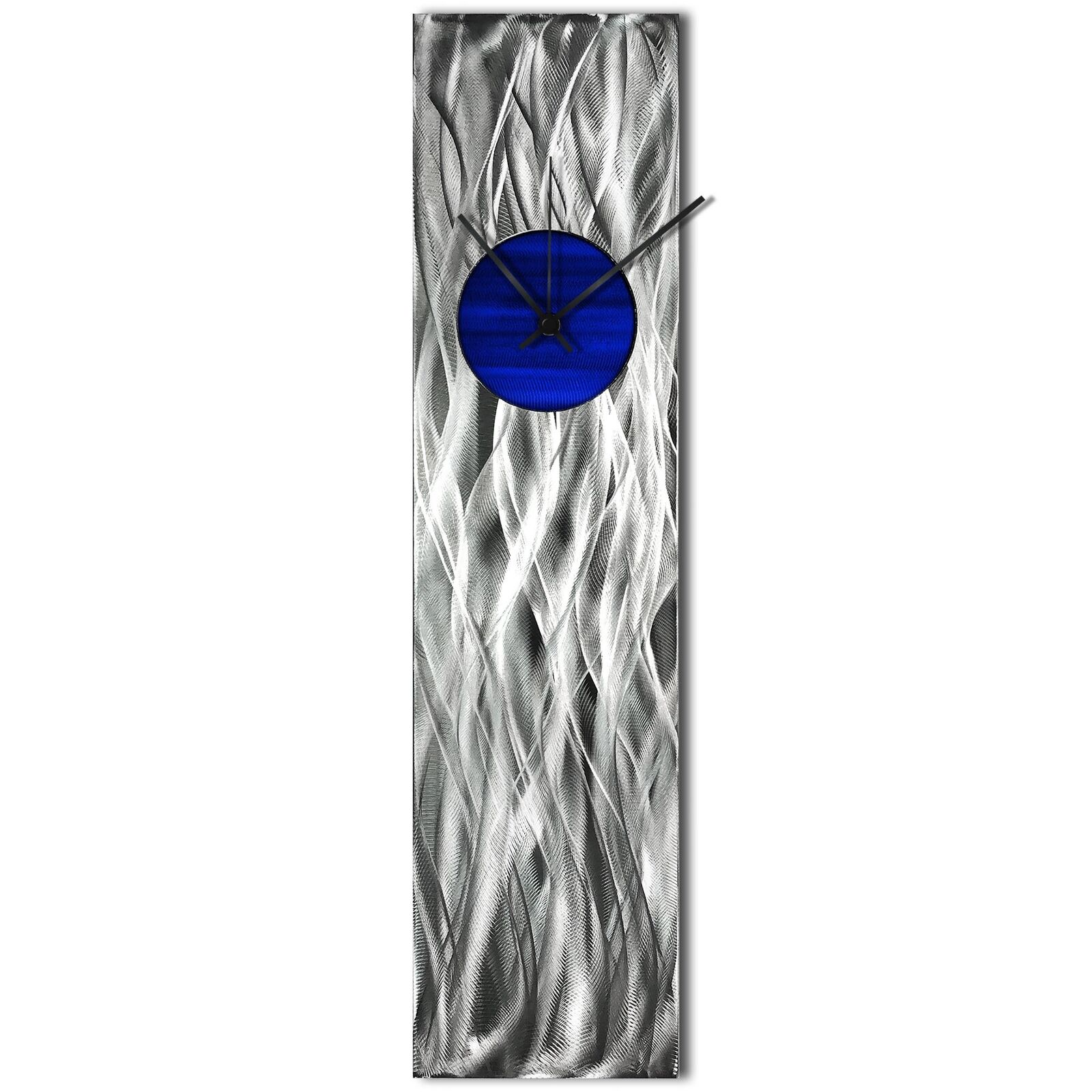 Modern Wall Clock Silver Home Decor Blue Metal Wall Art Abstract Kitchen Clock For Sale Online