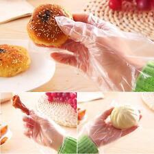 100pcs Disposable Gloves Food Safe Clear Polythene PE Home Kitchen Hands free SM