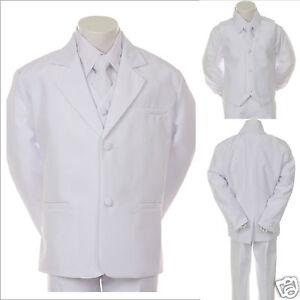 New Infant, Boy Wedding Baptism Communion Formal Tuxedo Suit S- XL, 2T- 20 WHITE