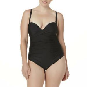 Women-039-s-Tropical-Escape-Rouched-One-Piece-Swimsuit-Black-Size-18