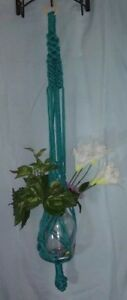 Hand Crafted Macrame Plant Hanger 3 Legs 36 Long Turquoise