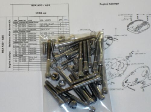 BSA A50 A65 Engine Cover Cam Box 1968-72 40x Stainless UNC Allen Bolts BSF nuts
