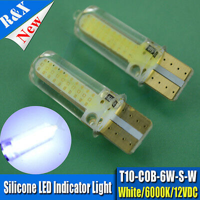 2X  White T10 W5W SILICONE COB LED 6W Car Clearance Lamp Roof Light Reading Bulb