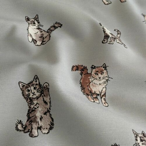 """Shabby Cats Design Cotton Rich Linen Fabric Curtaining /& Upholstery 54/"""" Wide"""