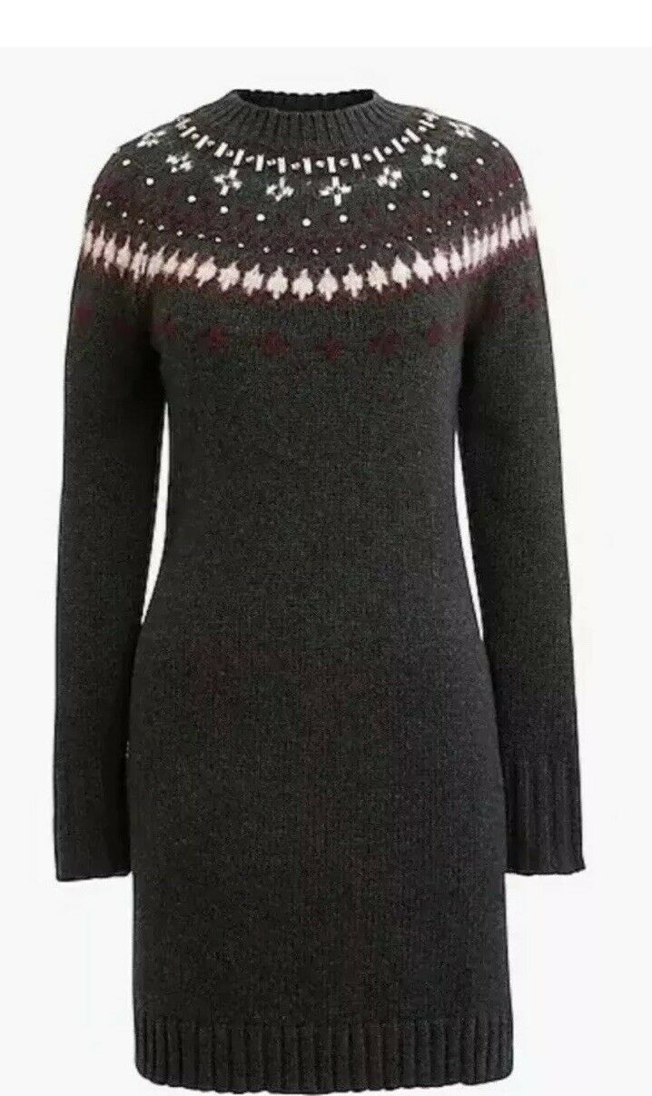 J Crew Fair Isle XL tröja Dress ny grå Embalised Crystal Nwt Long Sleve