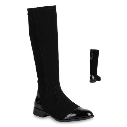 Damen Klassische Stiefel Modische Lack Boots Blockabsatz 818961 Schuhe