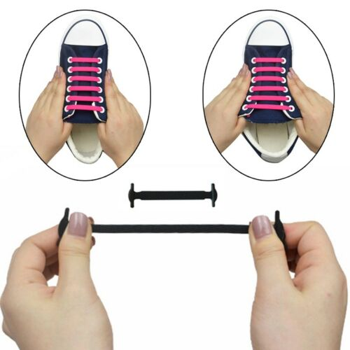 16 Pcs No Tie Shoelaces Silicone Shoelaces Elastic Shoe Lace Sneaker Laces New