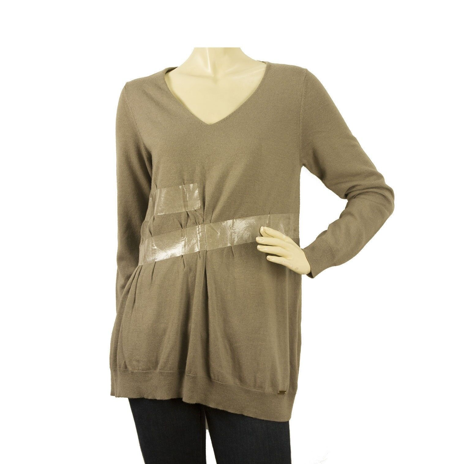 Atos Lombardini Taupe OverGrößed Wolle Knit oben Lange Sleeve Sweater wιth tape fx