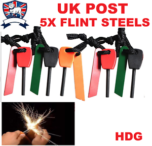 5 X Large Outdoor Survival Flint /& Steel Magnesium Rod Fire Striker Starter NEW