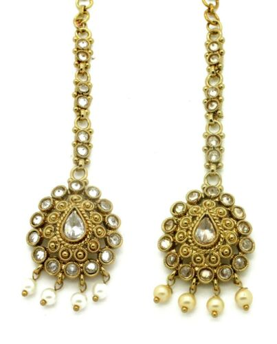 Oro LCT Diamante Cabello Tikka indio de cabeza casco jhumar Grecian Estilo Bohemio