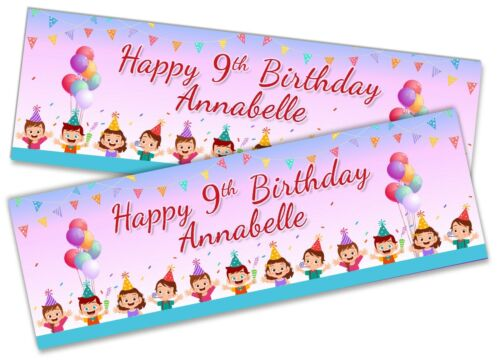 Details about  /x2 Personalised Birthday Banner Generic Children Kids Party Decoration 44