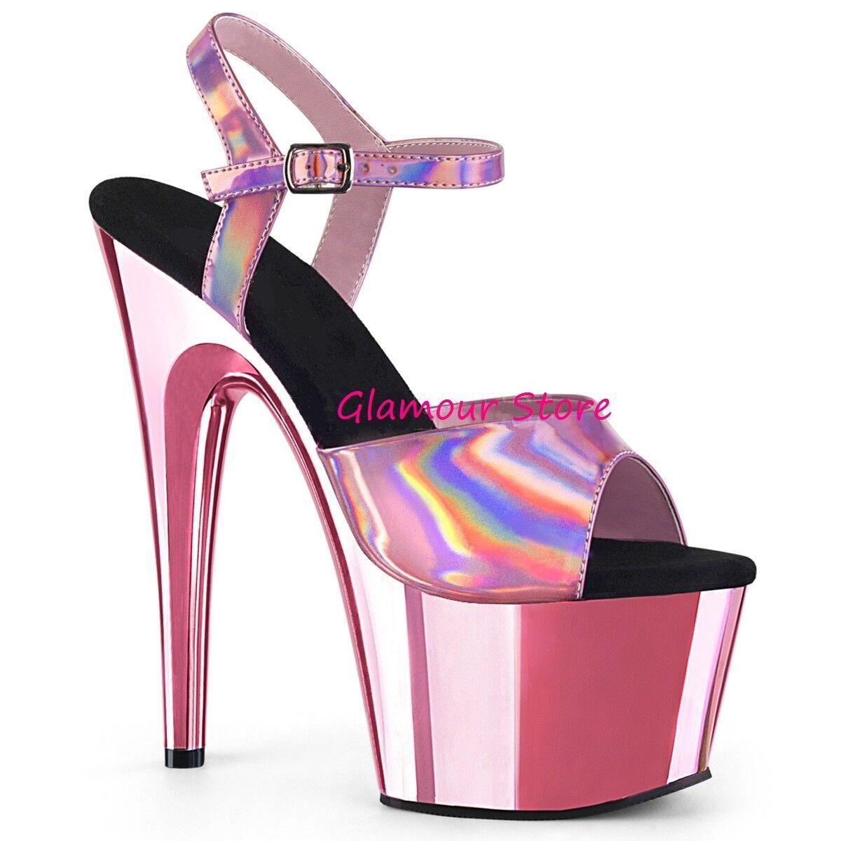 Sexy SANDALI tacco 18 da 35 al 42 ROSA BABY cromato plateau scarpe GLAMOUR club