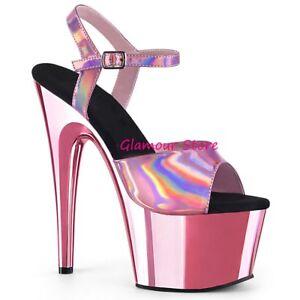 Sexy SANDALI tacco 18 da 35 al 42 ORO ROSA cromato plateau scarpe GLAMOUR club