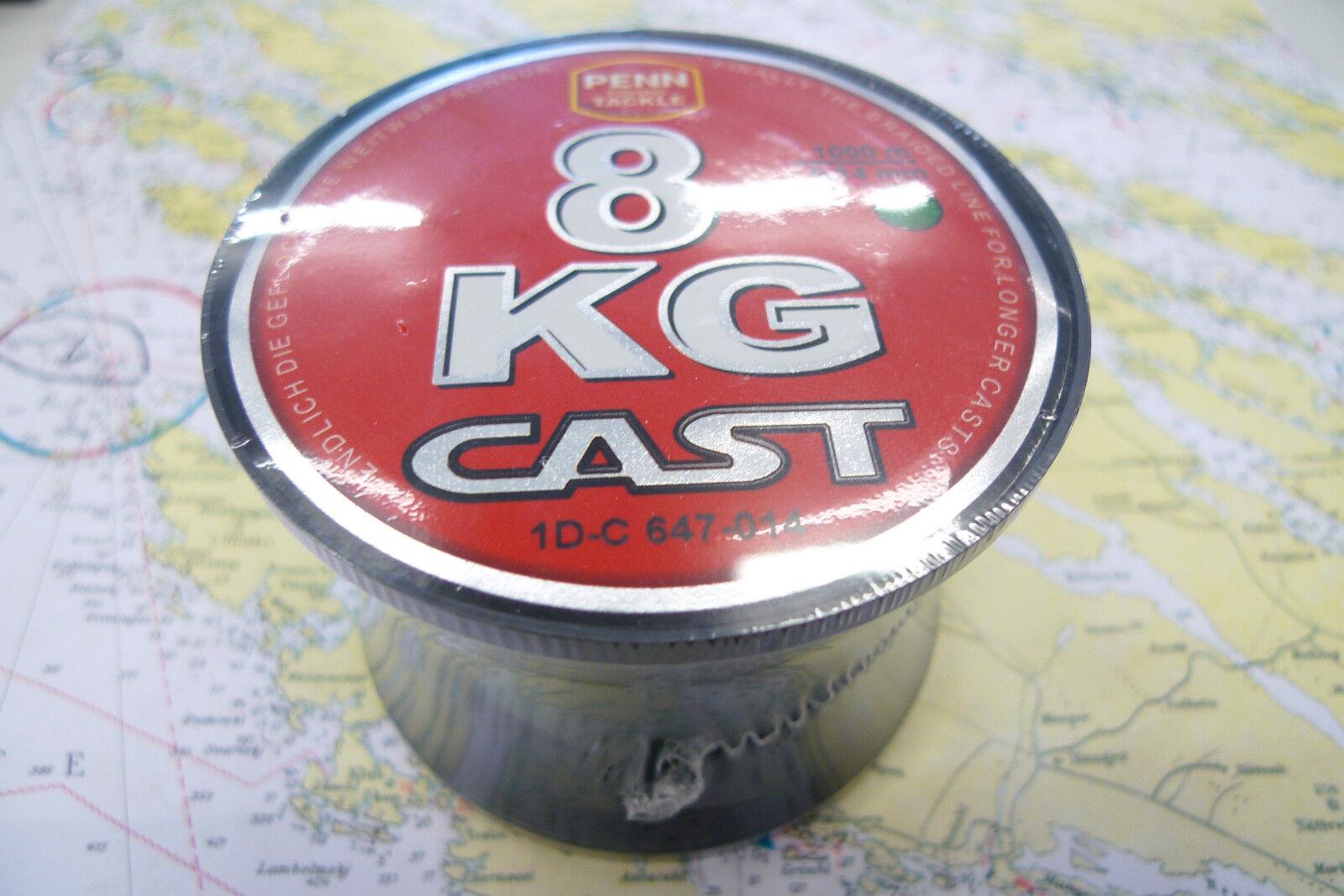 PENN 8KG CAST GEFLOCHTENE SCHNUR  0,14mm grün, Tragkr. 8kg, 1000 Meter   m