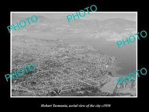 OLD-LARGE-HISTORIC-PHOTO-HOBART-TASMANIA-AERIAL-VIEW-OF-THE-CITY-c1950
