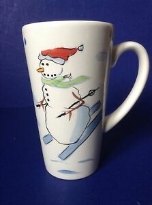 Image Is Loading Gibson Skiing Snowman On Skis Handpainted Tall White