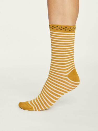 Womens Soft Natural Bamboo Hedda Stripe Socks Gold Size 4-7 by Thought
