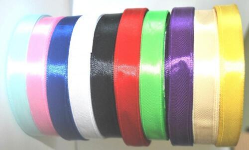 5 Bobines de satin couleur ruban rells Rolls Bijoux Carte Craft 6 mm 12 mm 25 mm