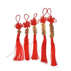 Feng-Shui-chino-Proteccion-Riqueza-afortunada-Cuerda-borla-roja-Monedas-atadas