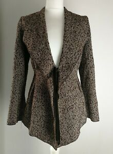 Per-Un-brown-tweed-herringbone-jacket-velvet-tie-closure-wool-blend-size-16