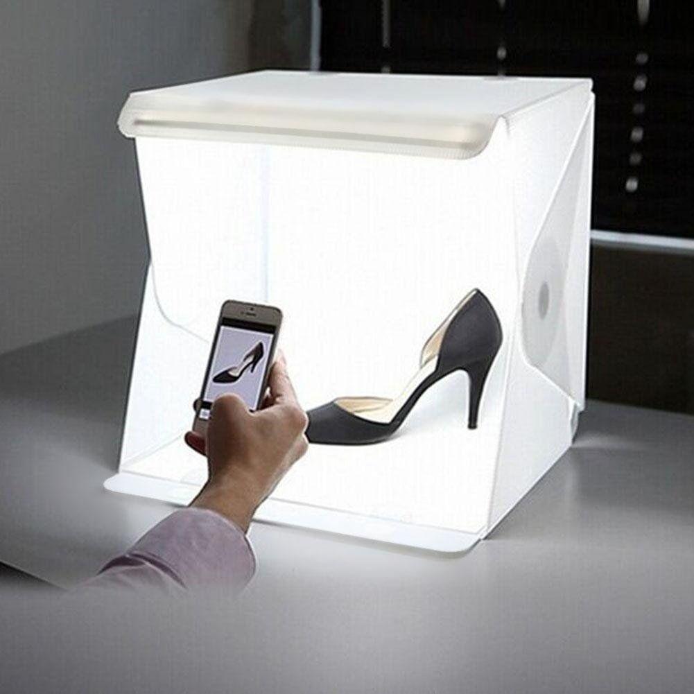 US LED Photo Studio Photography Light Box Adjustable Backdro