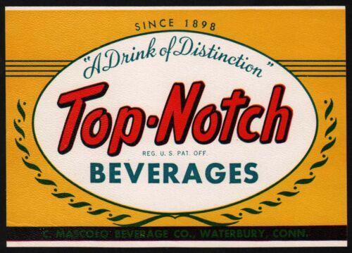 Vintage soda pop bottle label TOP NOTCH BEVERAGES Waterbury Connecticut n-mint+