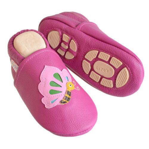 #661 Schmetterling in pink Liya/'s Babyschuhe Lederpuschen Lauflernschuhe