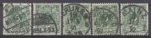 Dt-Reich-Mi-Nr-46-5-Pfg-in-allen-Farben-gestempelt-geprueft-29857